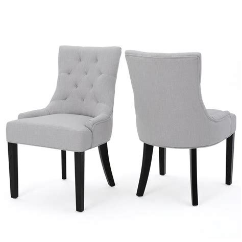 noble house hayden light grey fabric dining chair set