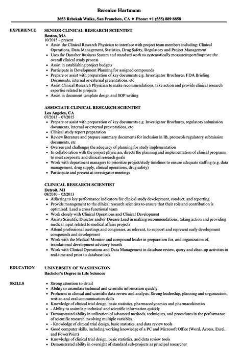 clinical research scientist resume sles velvet