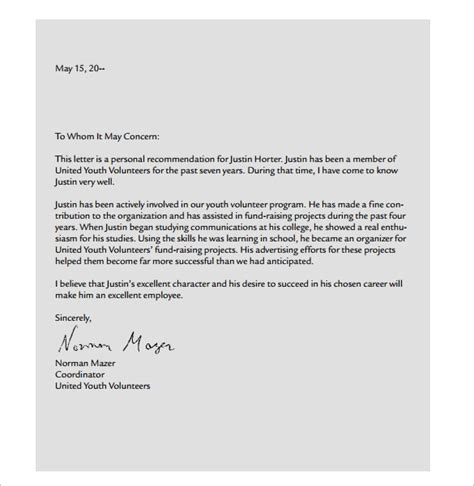 sample personal letters sample templates