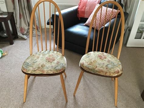Pair Of Ercol Quaker Dining Chairs Complete With Ercol