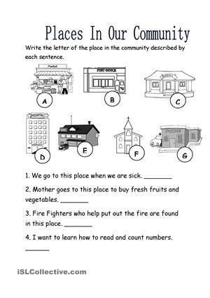 places   community community helpers worksheets