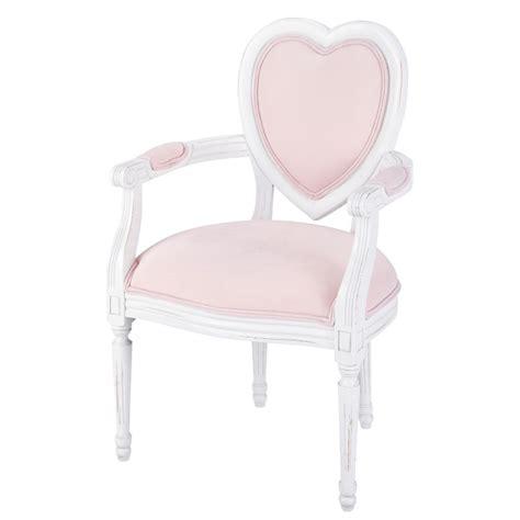 fauteuil enfant en bois et coton rose coeur maisons du monde