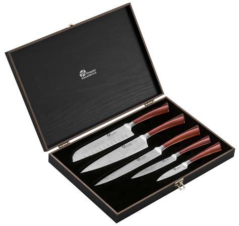 cadeau de cuisine coffret 5 couteaux de cuisine pradel effet damas
