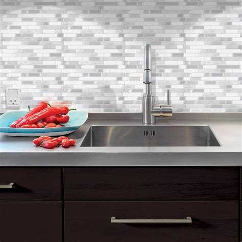 stick on tiles for kitchen smart tiles bellagio blanco 10 06 in w x 10 in h peel 8353