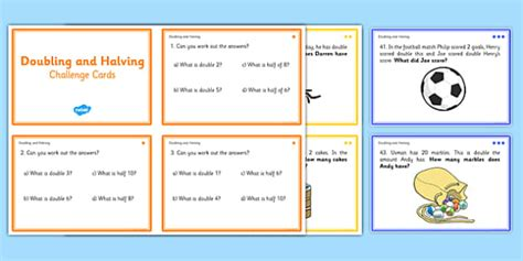 doubling and halving challenge cards double math numeracy