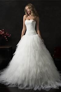 Ball gown strapless drop waist corset tulle ruffle layered for Drop waist ball gown wedding dress