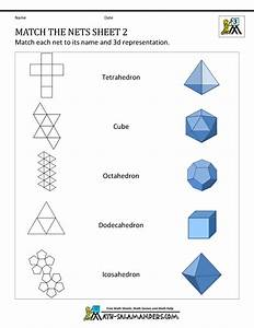 Nets Of 3d Shapes Worksheets Match The Nets 2
