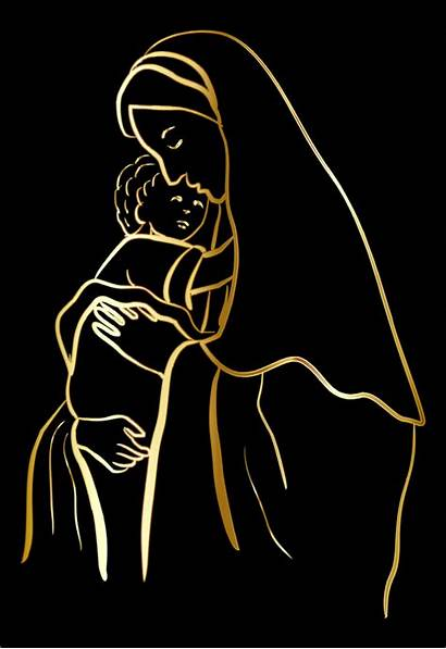 Jesus Mary Outline Virgin Vector Domain Gold