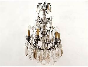 Lustre Pampilles Cristal : lustre pampilles 6 feux bronze dor cristal taill fleurs xix me si cle ~ Teatrodelosmanantiales.com Idées de Décoration