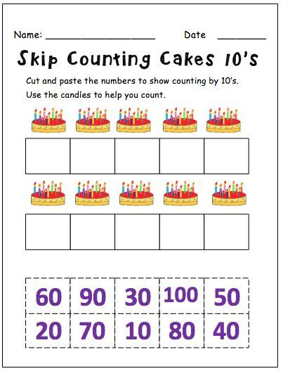 Skip Counting By 10′s  This Resource Contains 5 Worksheets For Students To Cut And Paste
