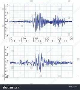Vector Seismograms Graph Output By Seismograph Stock