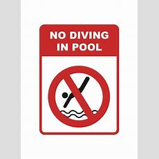 """""""no Diving In Pool"""" Caution Swimming Pool Sign Icandy"""