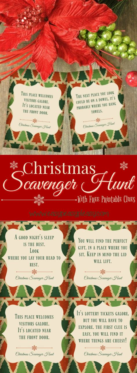 Christmas Scavenger Hunt With Free Printable Clues Easy