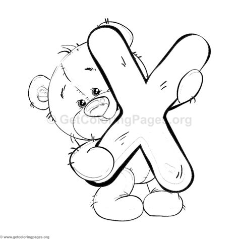 X For Coloring by Teddy Alphabet Letter X Coloring Pages