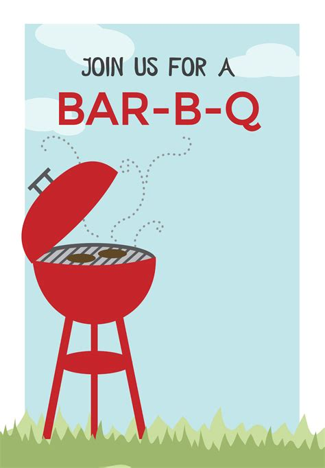 bbq cookout  printable bbq party invitation template