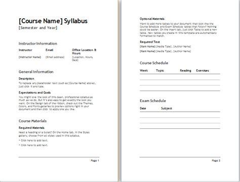 syllabus template semester syllabus template document templates