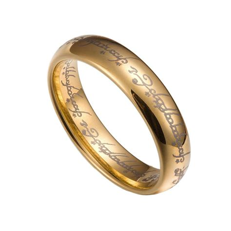 gold tungsten carbide 5mm lord of the rings band plain