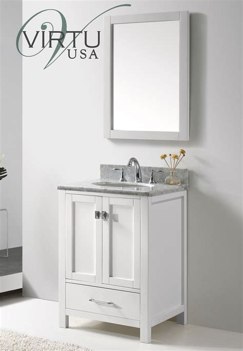 Small White Vanity by Caroline Avenue 24 Inch Contemporary Bathroom Vanity