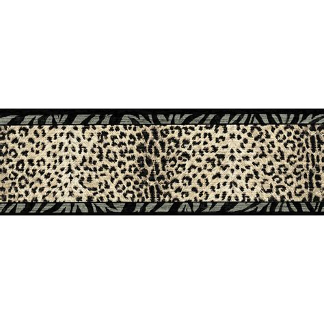 Wallpaper Border Animal Print - shop allen roth 6 3 4 quot black and beige animal print