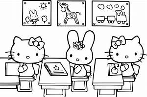 Hello Kitty Class Coloring Page | Wecoloringpage