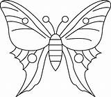 Butterfly Coloring Simple Drawing Print Pages sketch template