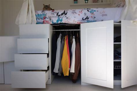 meubles de bureau ikea 9 diy un lit dressing gain de place avec des rangements de digpres
