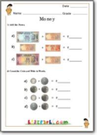 grade  money worksheets kidzparkcom