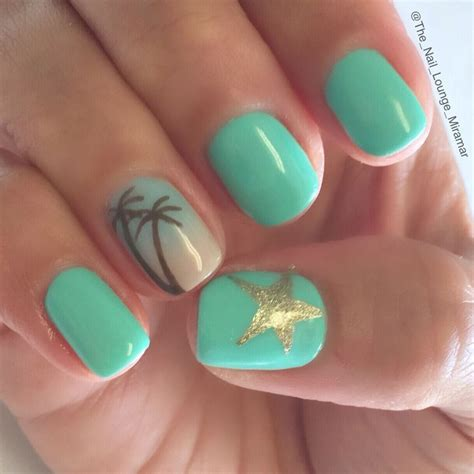 nice summer palm tree star ombre nail art design palm
