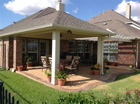 arbor  patio cover combo stamped concrete stained