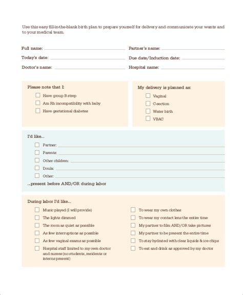 Planned C Section Birth Plan Template by 9 Sle Birth Plans Sle Templates