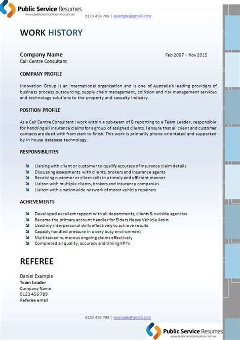 Government Resume Writers Canberra by Service Executive Resume 187 Government Resume