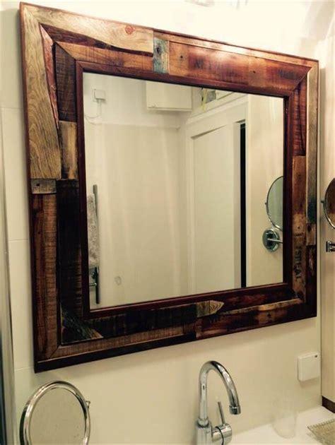 diy rustic pallet mirror  wall