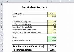 ben graham formula in excel to calculate intrinsic value With intrinsic value calculator excel template