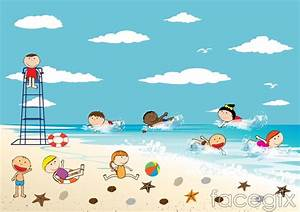The children playing by the ocean vector – Over millions ...