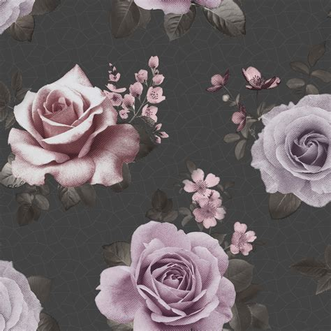 fine decor rosa black pink floral wallpaper