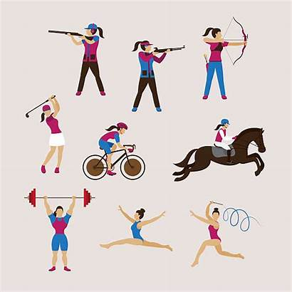 Athletes Sports Vector Weightlifting Olympic Illustrations Clip