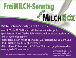 Verkaufsoffener Sonntag Kempten 2017 : probiertag 17 sept 2017 hiepps milchbox kempten allg u ~ Eleganceandgraceweddings.com Haus und Dekorationen