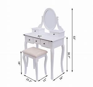 Dressing Table Stool Makeup Mirror Wood Dresser Chic