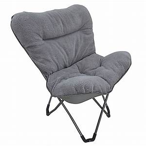 Folding Plush Butterfly Chair in Grey - Bed Bath & Beyond