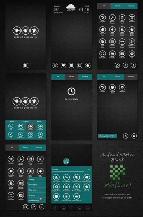 android theme metro black theme android go launcher ex by gseth on