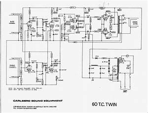 Carlsbro 600 T C  Twin Amp Schematic