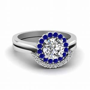 Round cut floral halo diamond wedding ring set with blue for Blue sapphire wedding ring set
