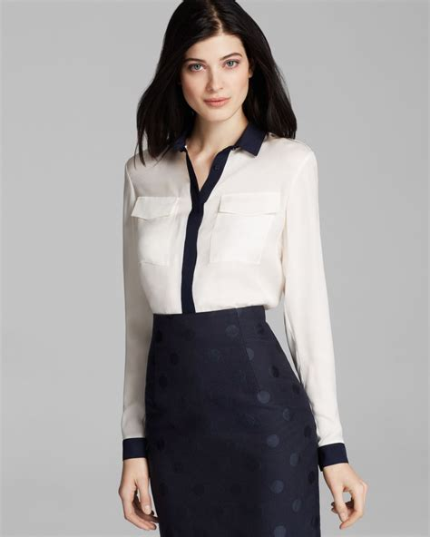 burberry blouse burberry blouse contrast button in white