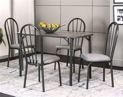 Dark Gray Five Piece Dining Set  American Freight