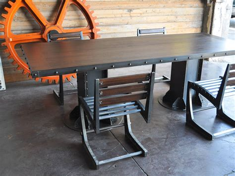 beam dining table vintage industrial furniture