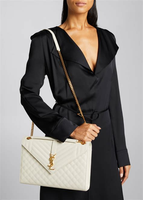 saint laurent monogram ysl  flap large tri quilt envelope chain shoulder bag golden hardware