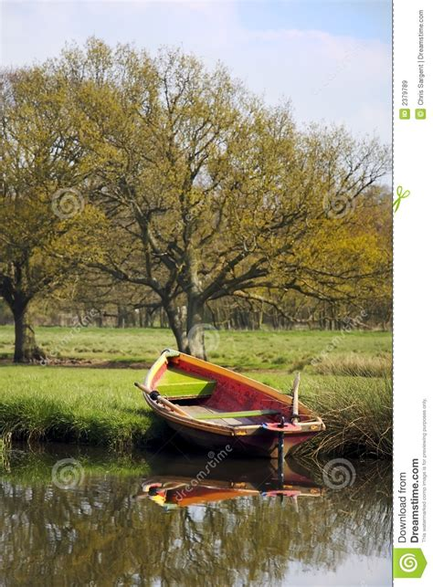 rowing boat  river bank royalty  stock images