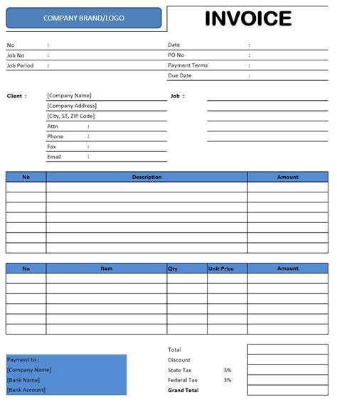 Excel Invoice Template Invoice Templates Microsoft And Open Office Templates