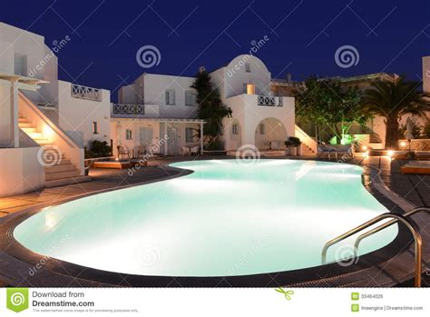 santorini luxurious resort  night royalty  stock