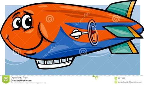 Zeppelin Airship Cartoon Illustration Stock Vector